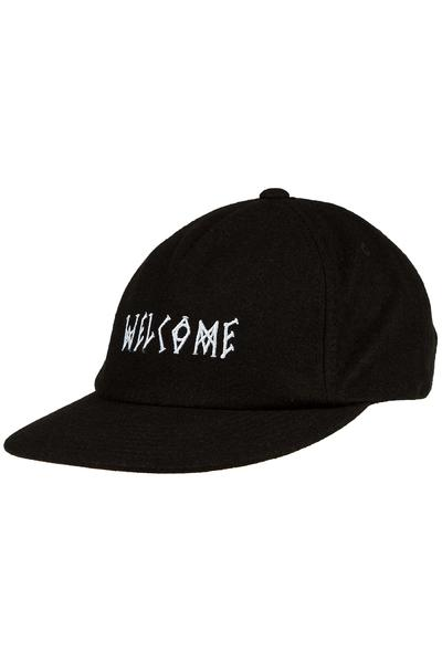 Welcome Scrawl Wool Strapback Cap (black white)