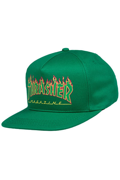 Thrasher Flame Logo Structured Snapback Cap (green)