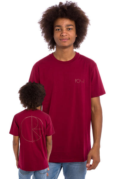 Polar Skateboards Stroke Logo T-Shirt (burgundy)