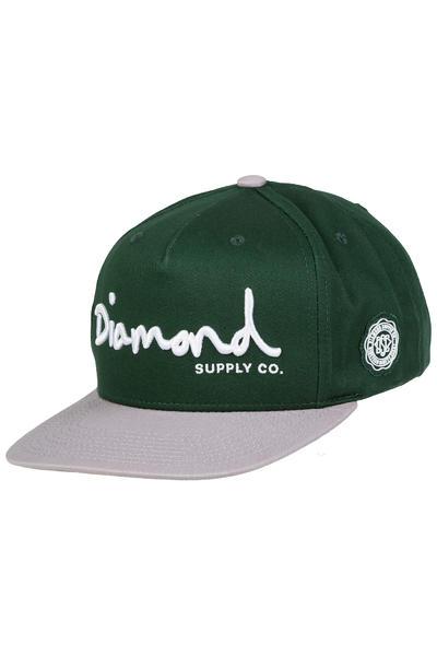Diamond OG Script Snapback Cap (green)