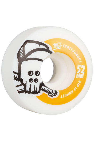 MOB Skateboards Skull 52mm Rollen (white orange) 4er Pack