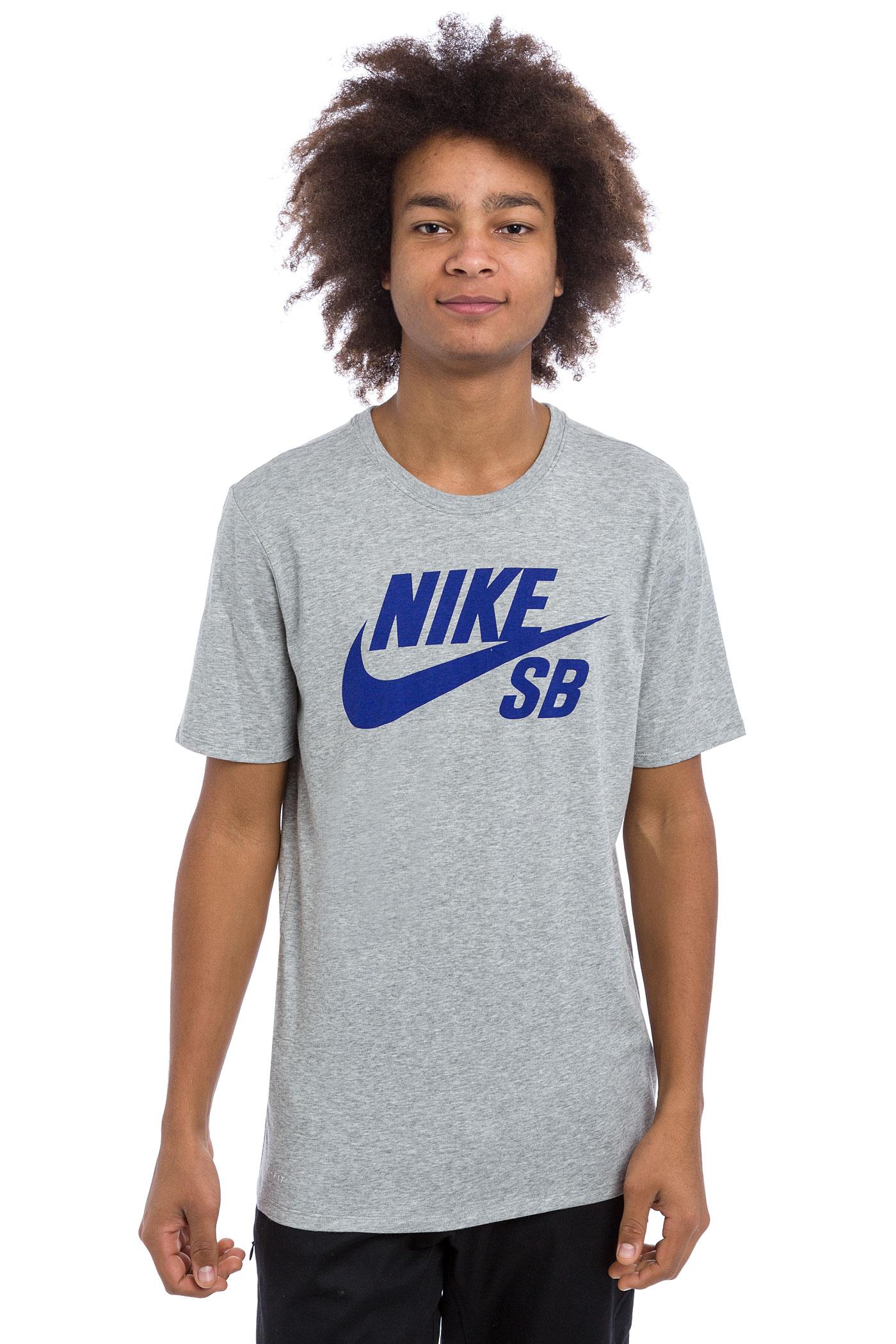 Nike sb logo t shirt dark grey heather deep night for Nike sb galaxy shirt
