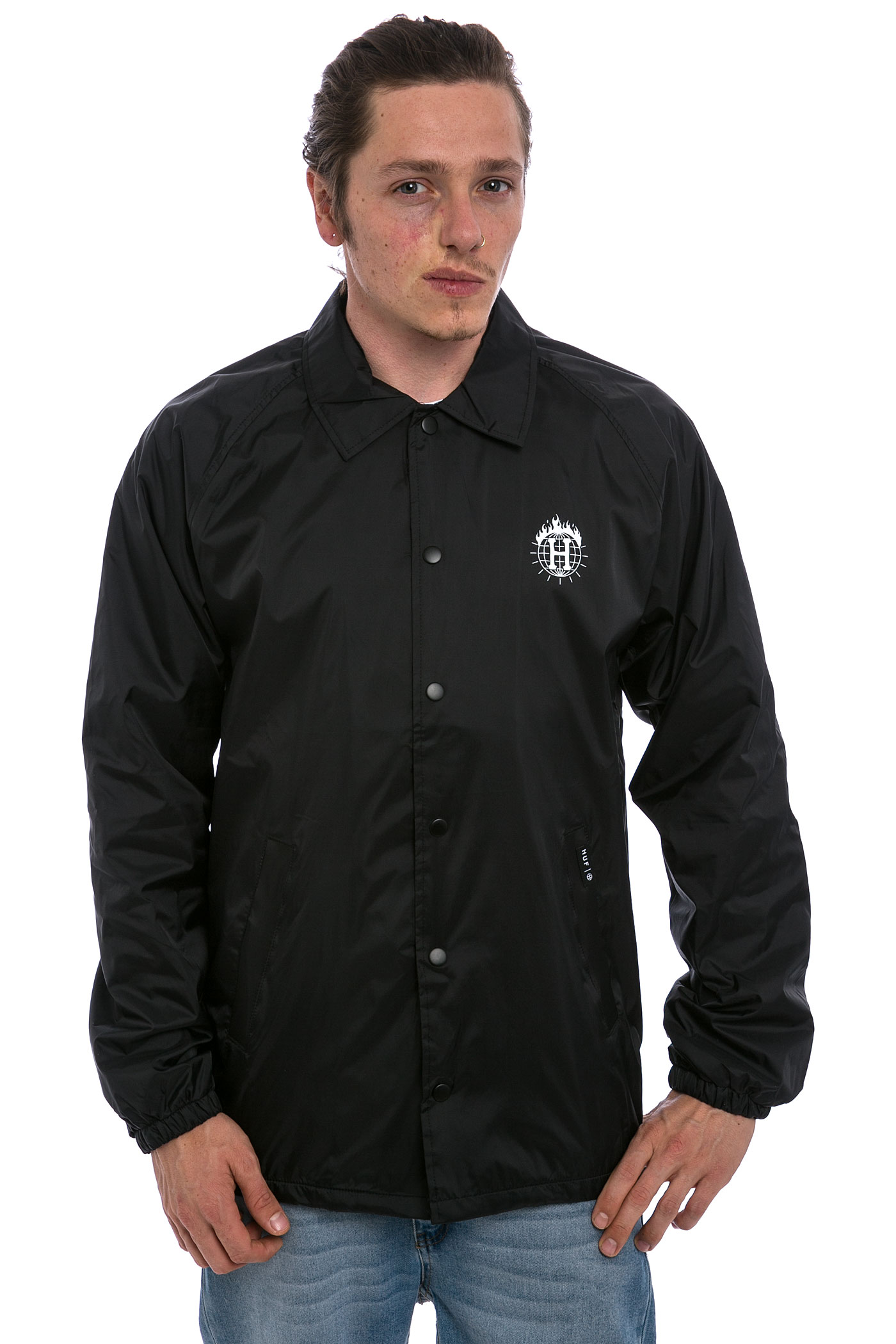 Huf x thrasher tds coach 39 s jacket black buy at skatedeluxe for Coach jacket