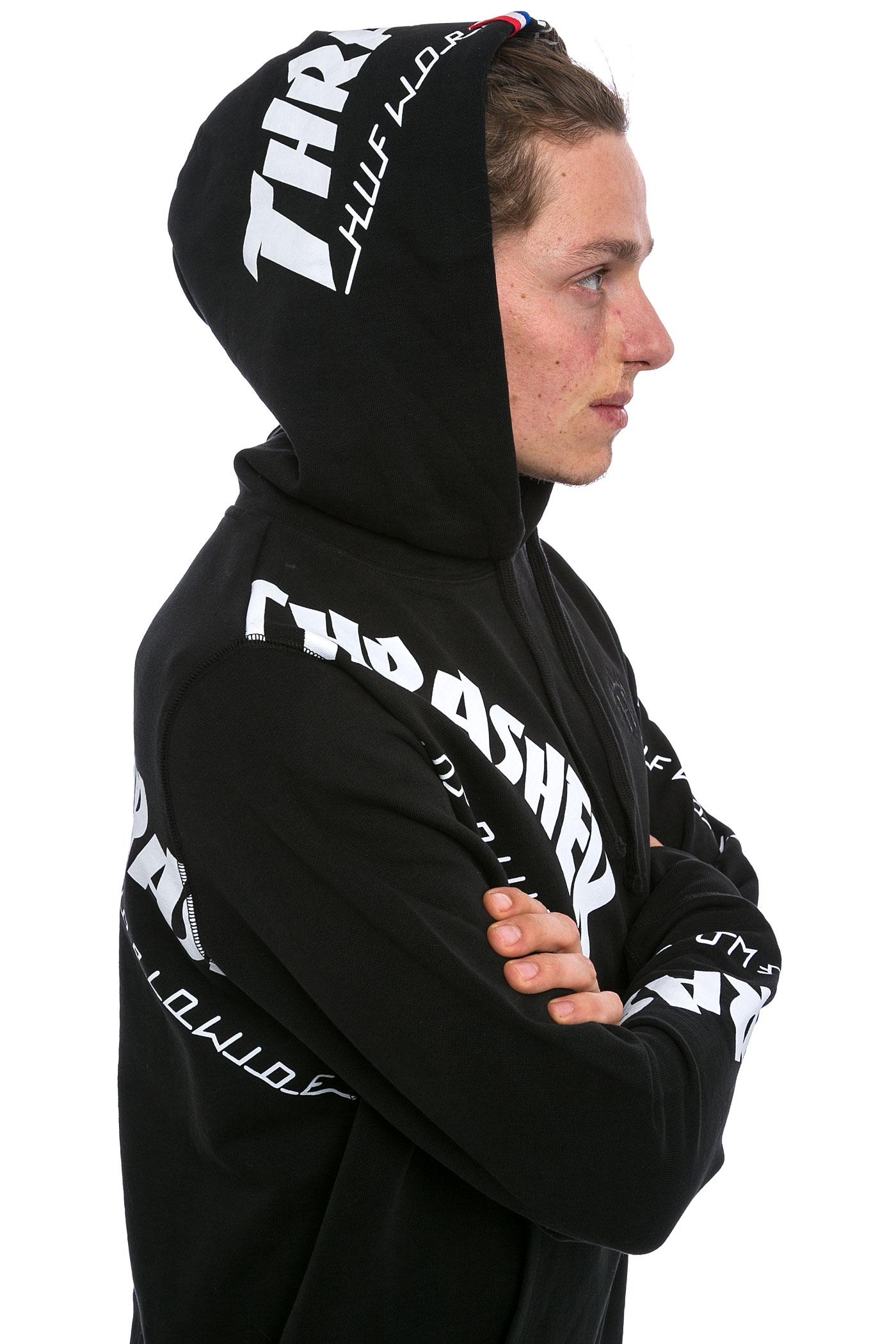Huf X Thrasher Tds Allover Hoodie Black Buy At Skatedeluxe