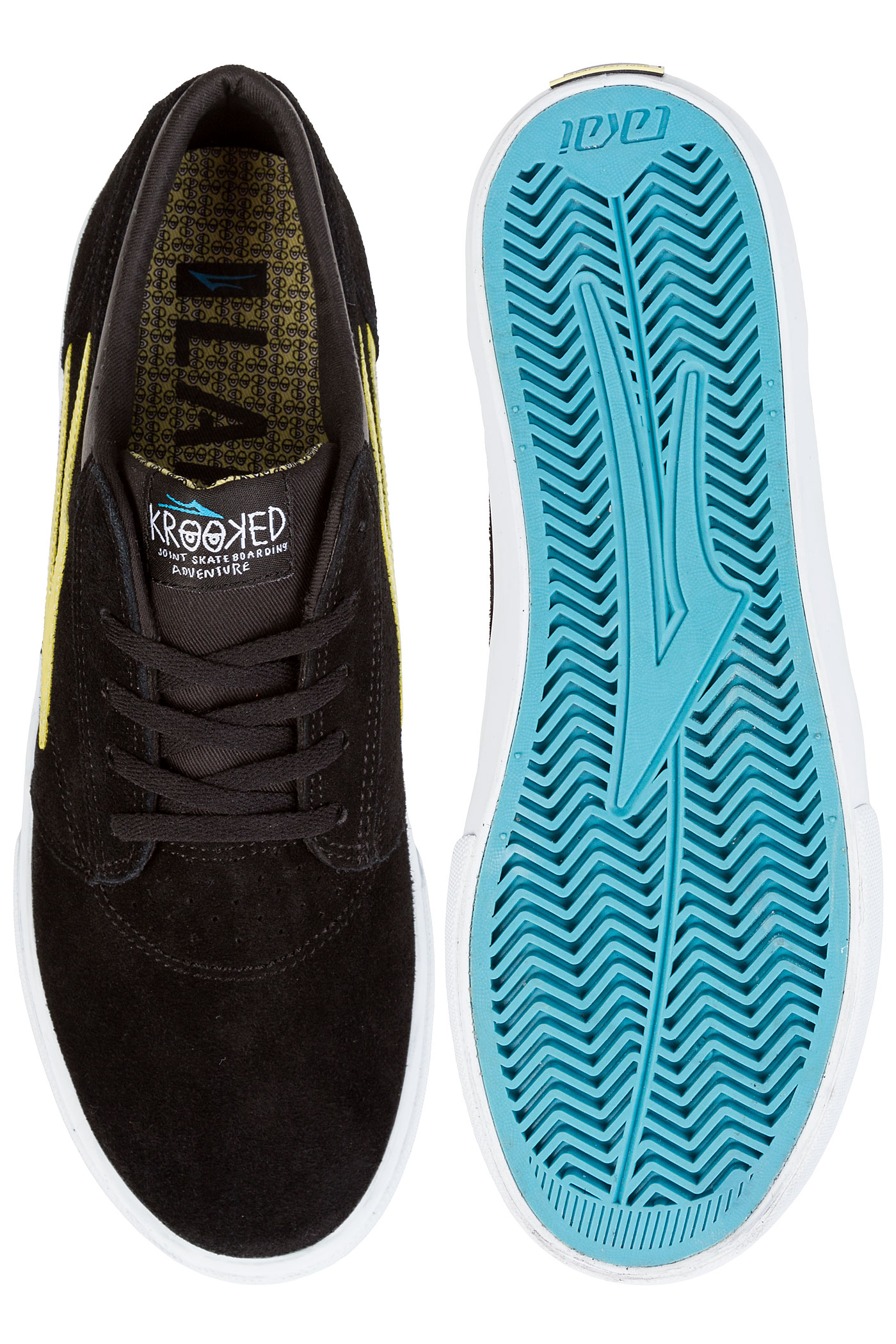 on sale 1ef99 a9d6d ... Lakai x Krooked Griffin Suede Chaussure (black yellow) ...