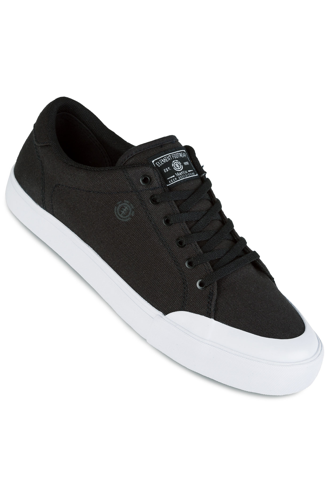 element mattis canvas shoes black white buy at skatedeluxe
