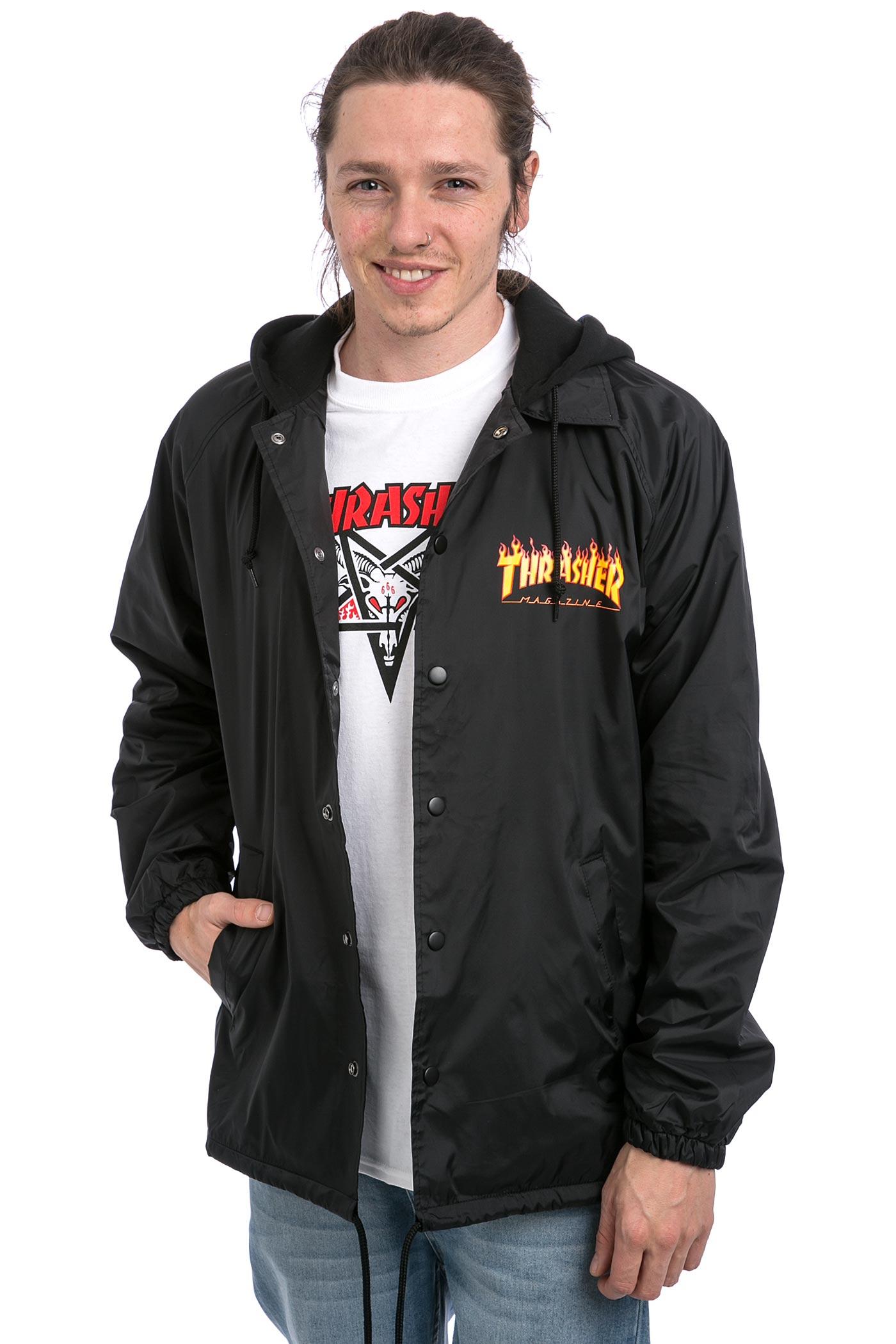 thrasher flame logo coach jacket black koop bij skatedeluxe. Black Bedroom Furniture Sets. Home Design Ideas