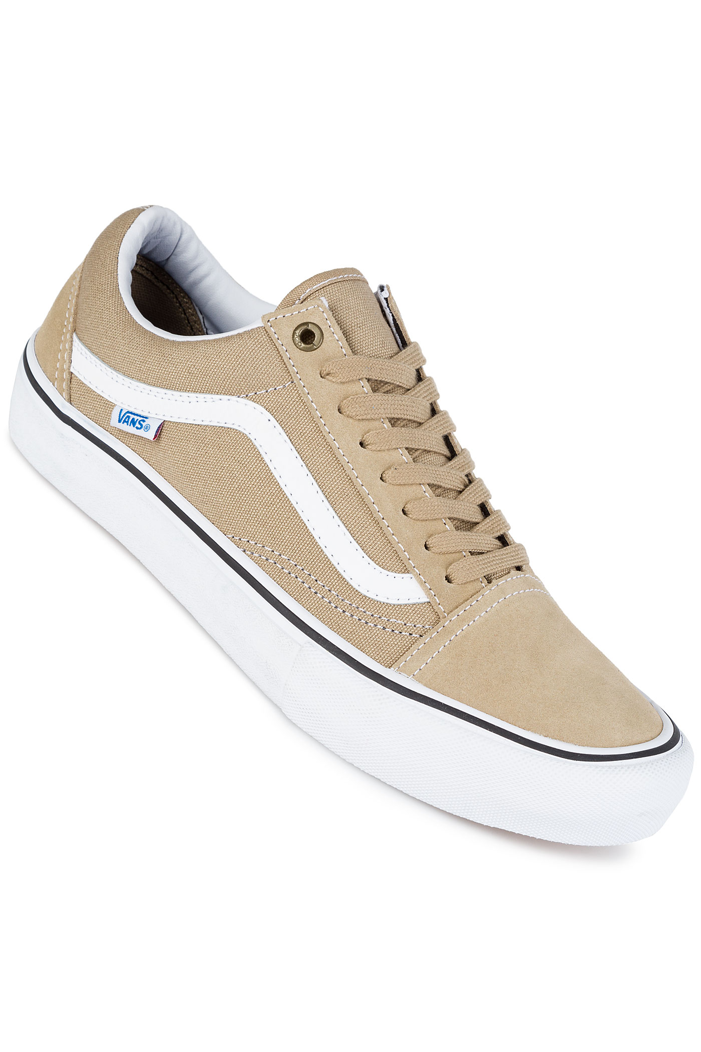 vans old skool pro schuh khaki white kaufen bei skatedeluxe. Black Bedroom Furniture Sets. Home Design Ideas