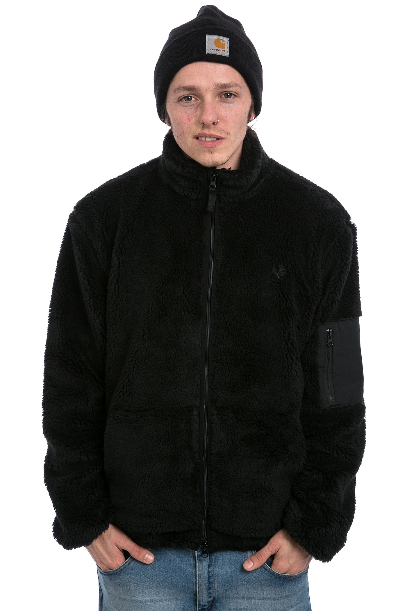 Polar Skateboards Halberg Berber Fleece Jacket (black) buy at ...