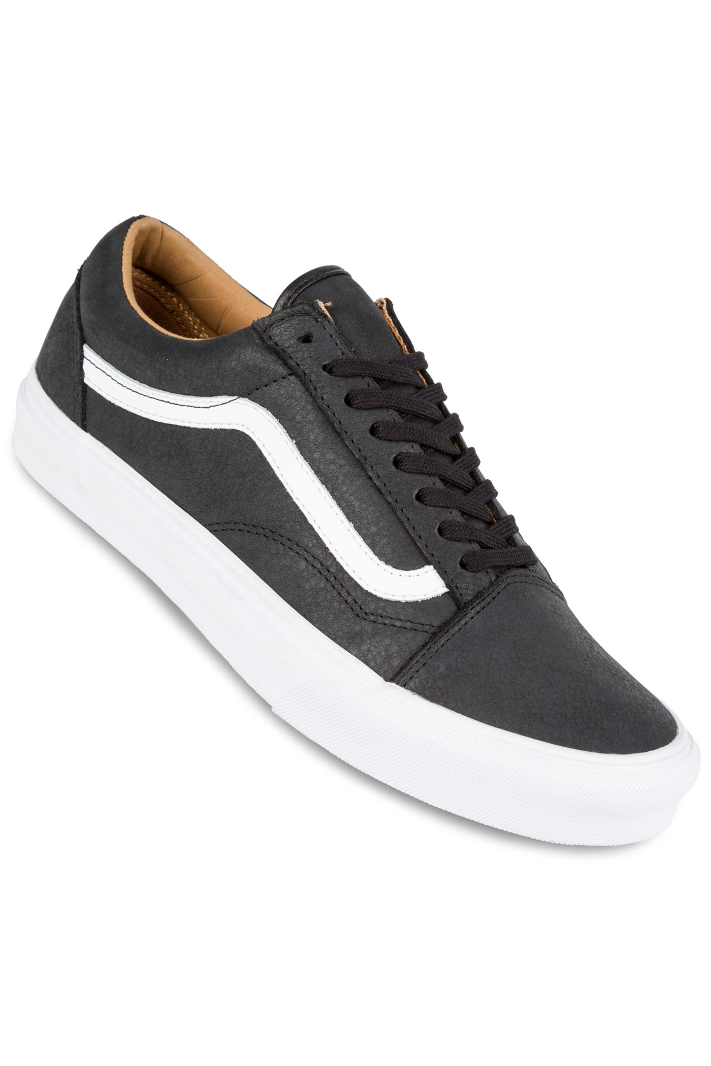 vans old skool premium leather chaussure black true white achetez sur skatedeluxe. Black Bedroom Furniture Sets. Home Design Ideas