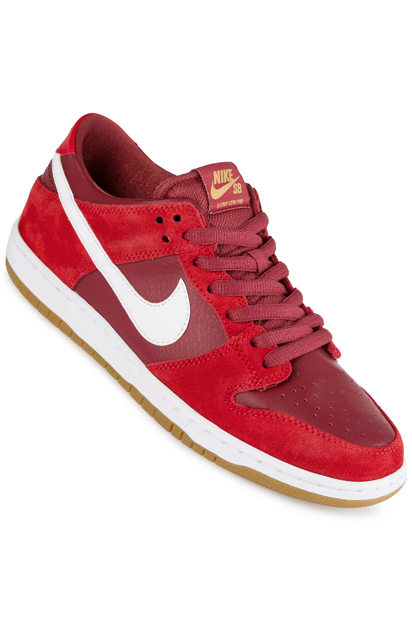 nike sb dunk low pro chaussure track red white achetez sur skatedeluxe. Black Bedroom Furniture Sets. Home Design Ideas