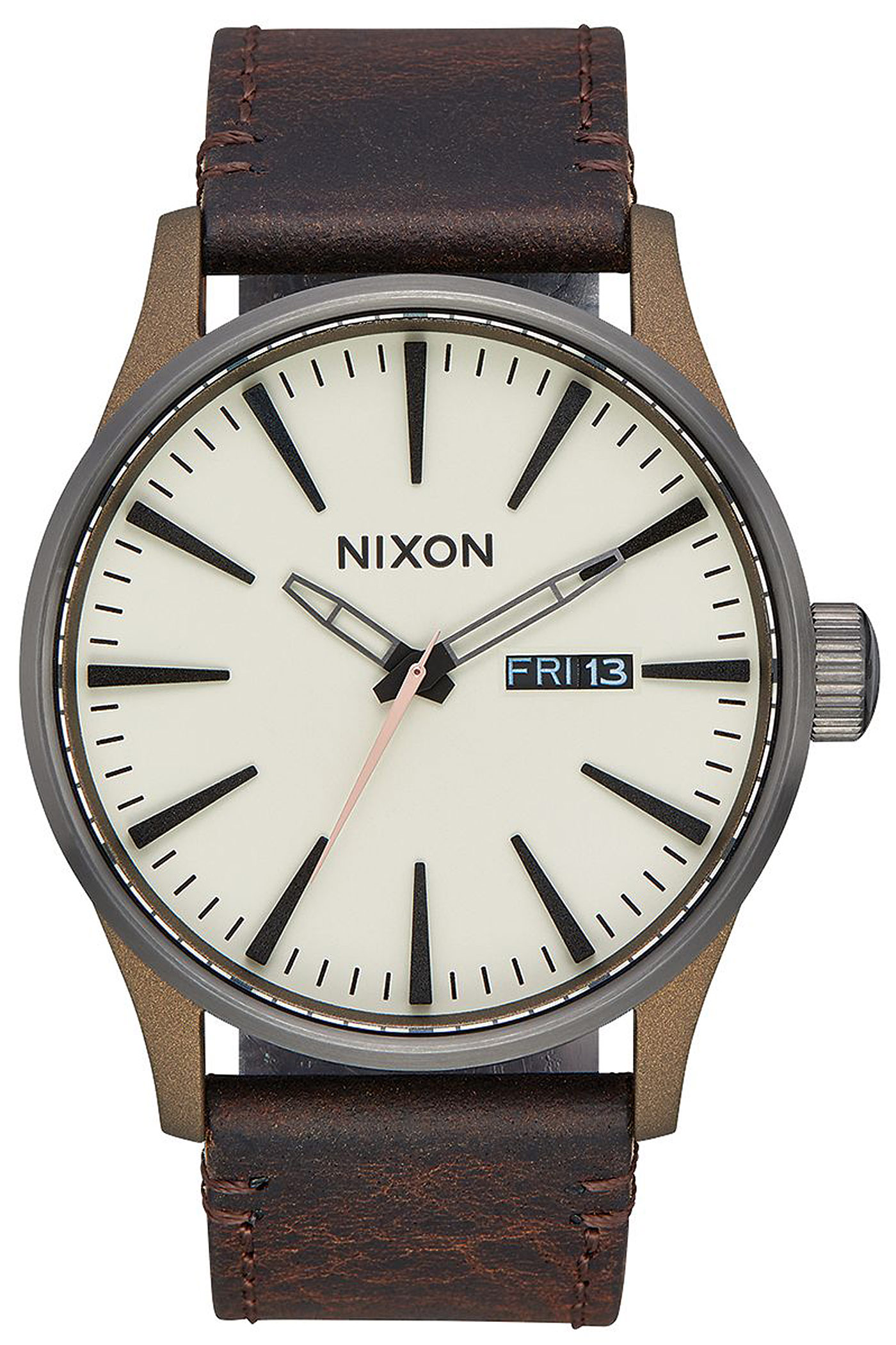 nixon the sentry leather uhr bronze gunmetal kaufen bei skatedeluxe. Black Bedroom Furniture Sets. Home Design Ideas