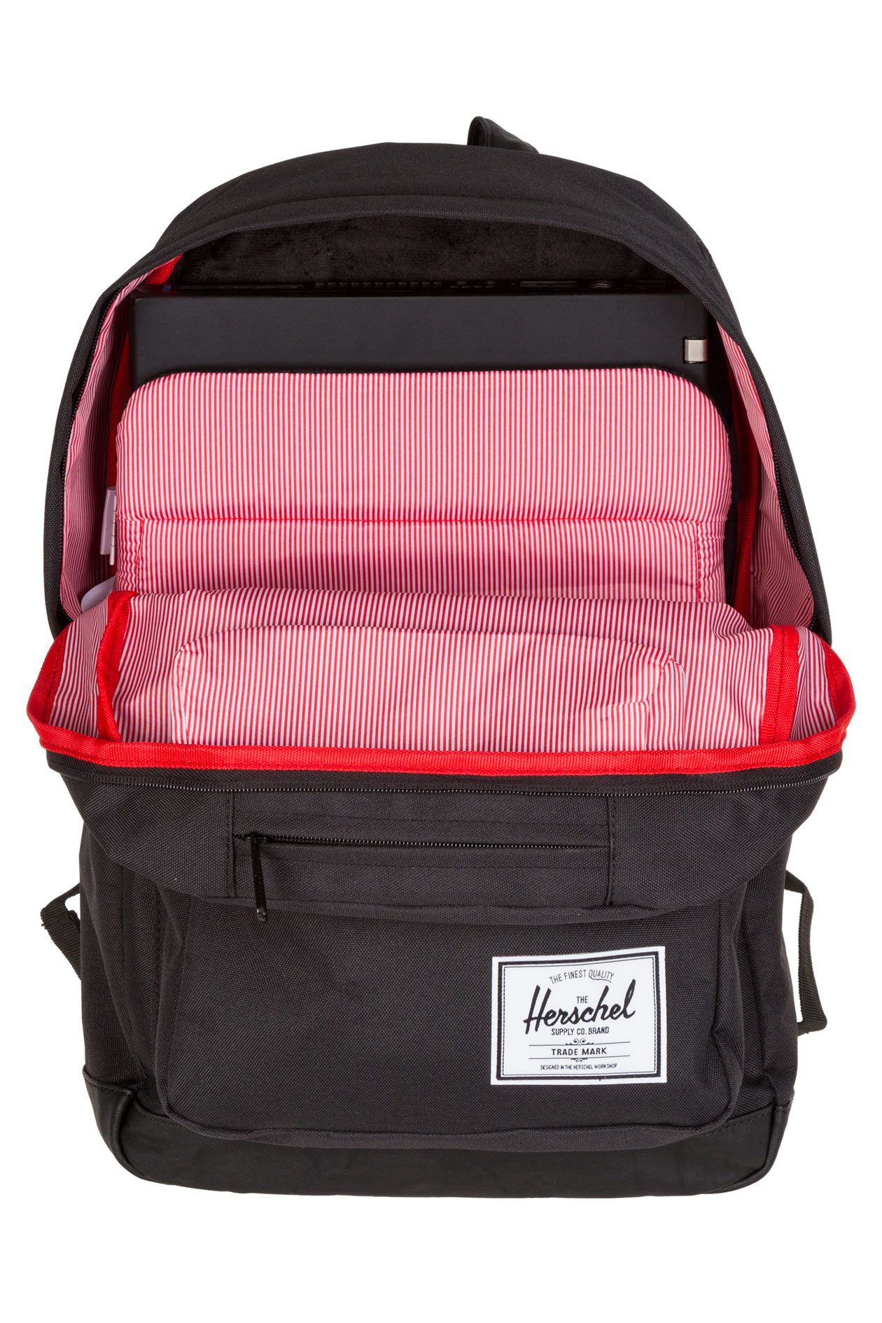 herschel pop quiz leather backpack 22l black black buy at skatedeluxe. Black Bedroom Furniture Sets. Home Design Ideas