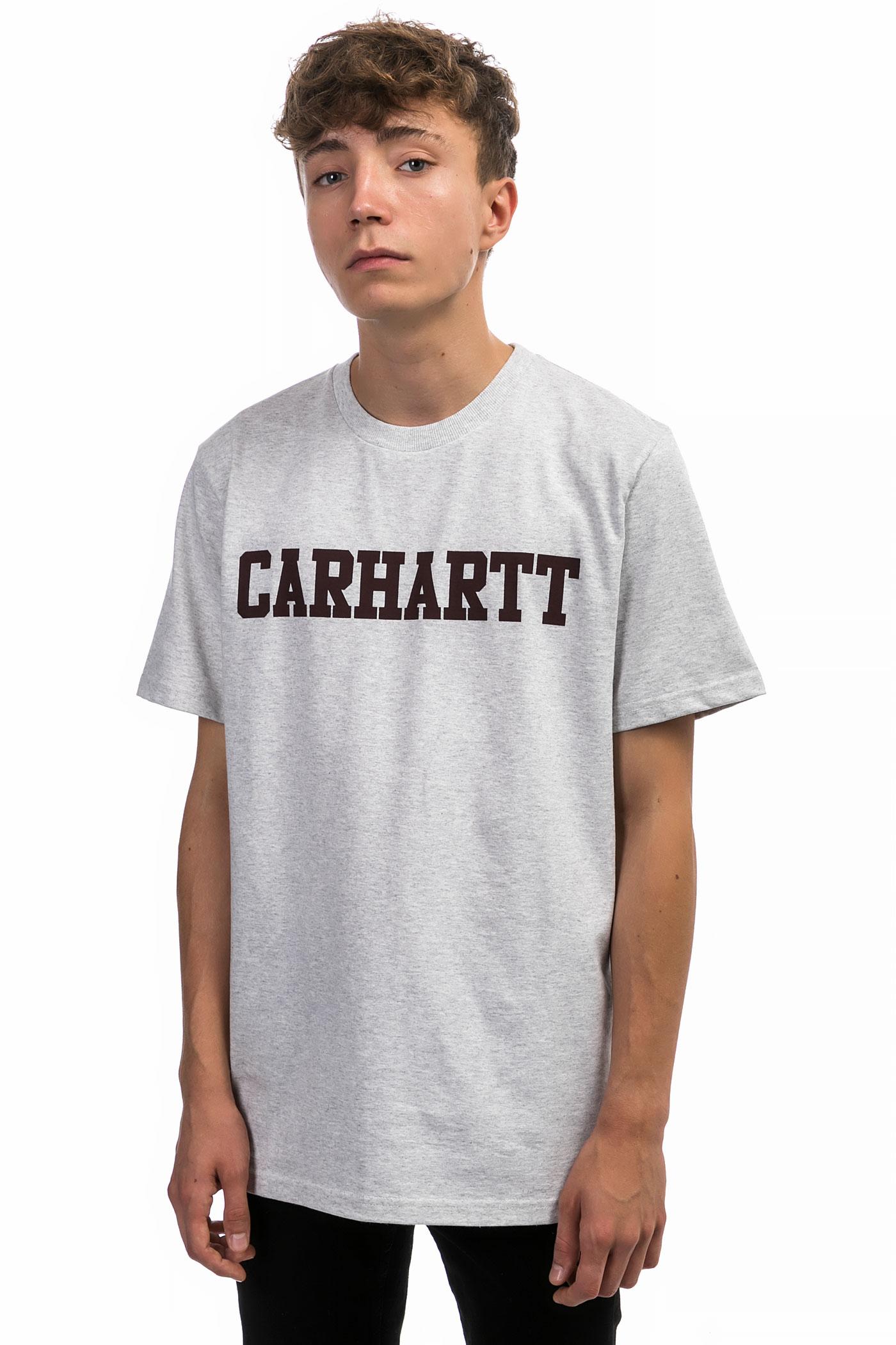 carhartt wip college t shirt ash heather damson buy at skatedeluxe. Black Bedroom Furniture Sets. Home Design Ideas