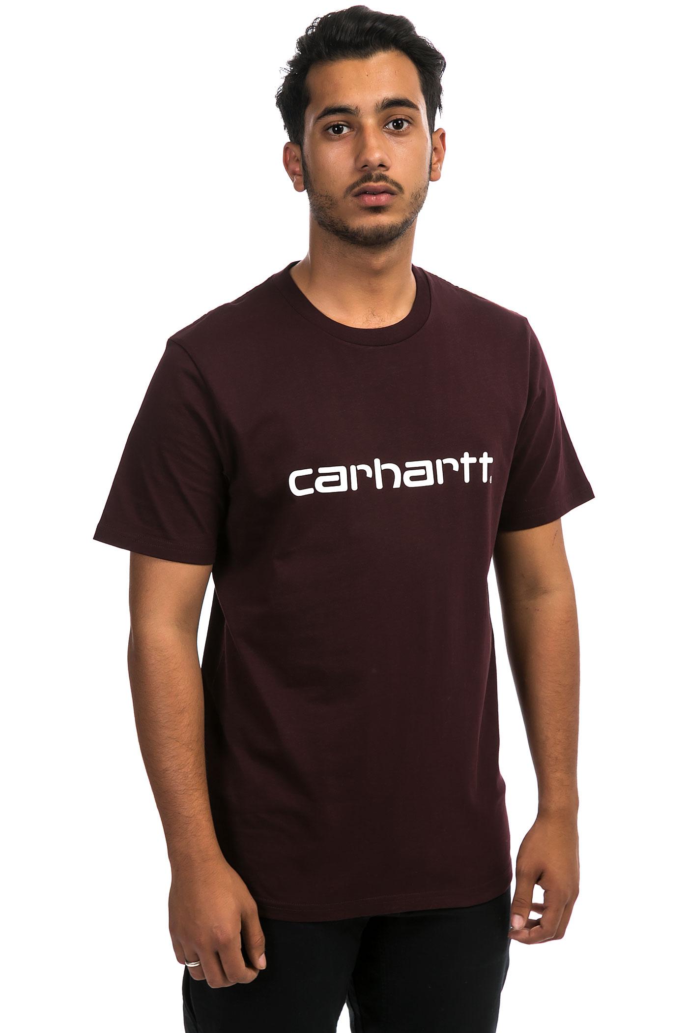 carhartt wip script t shirt damson white buy at skatedeluxe. Black Bedroom Furniture Sets. Home Design Ideas