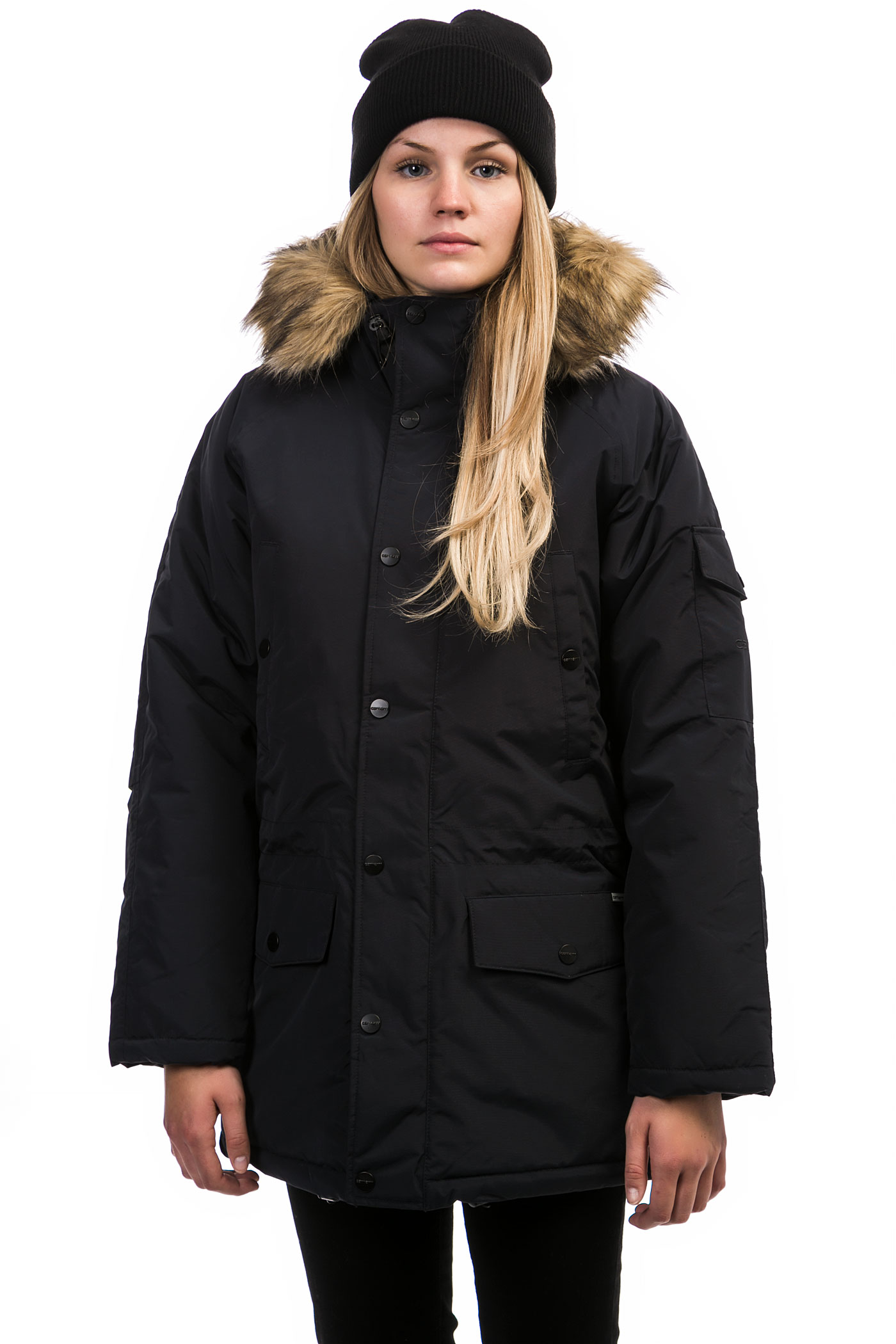 Carhartt WIP W' Anchorage Parka Jacket women (dark navy black) buy ...