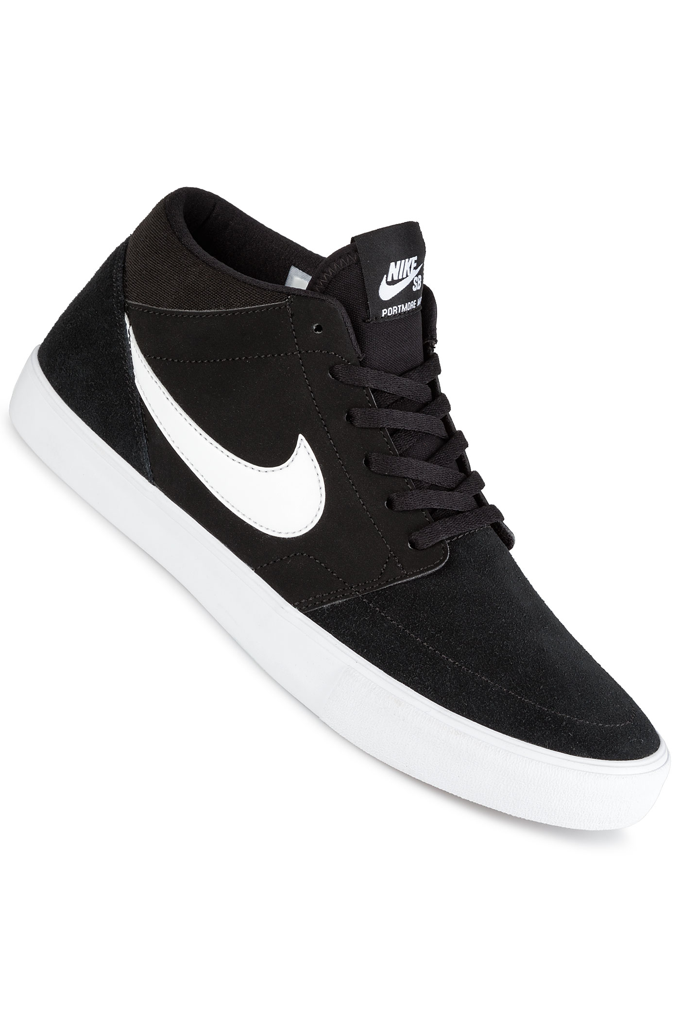 nike sb solarsoft portmore ii mid schuh black white kaufen bei skatedeluxe. Black Bedroom Furniture Sets. Home Design Ideas