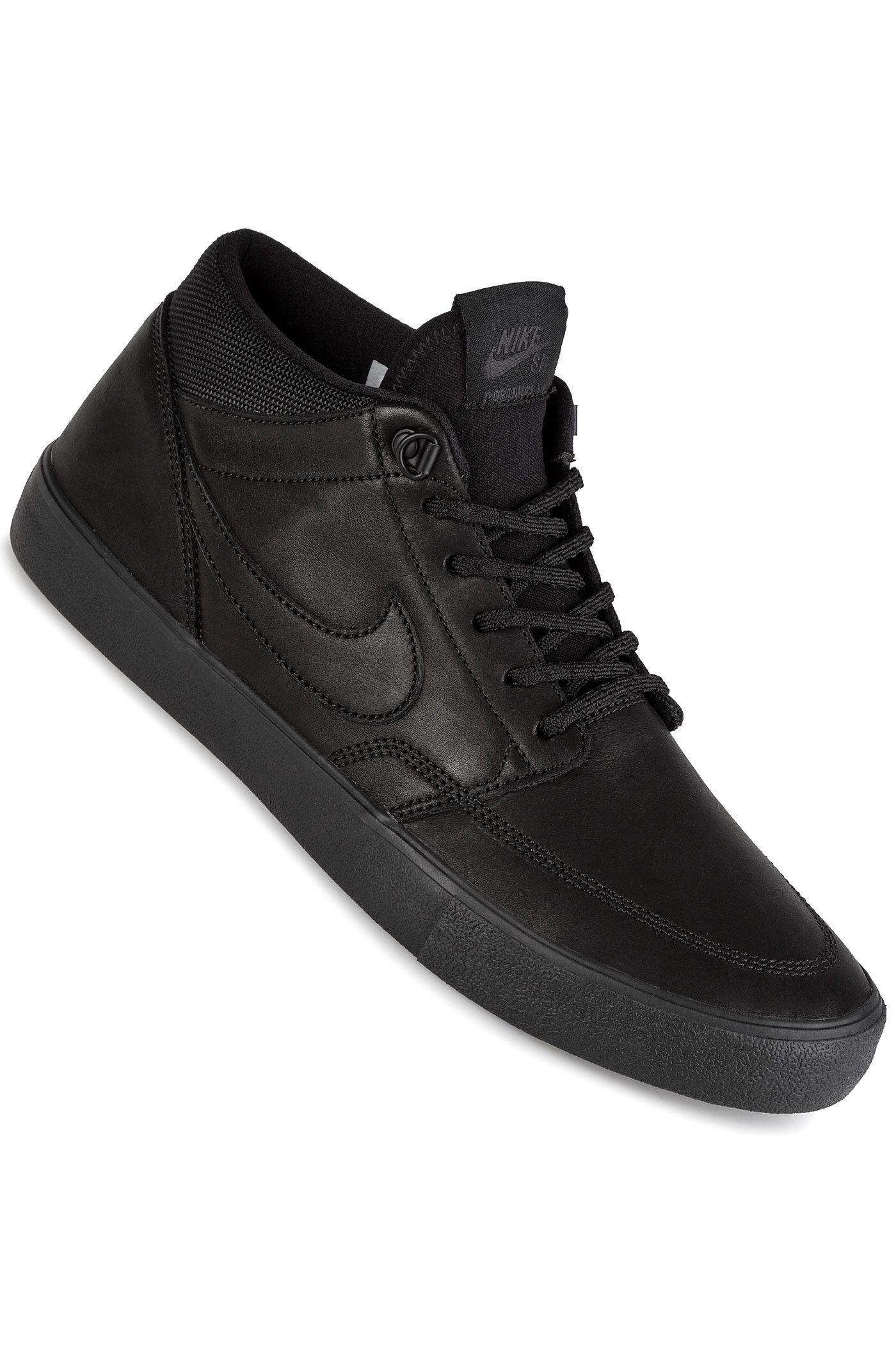 nike sb solarsoft portmore ii mid bota shoes black buy at skatedeluxe. Black Bedroom Furniture Sets. Home Design Ideas