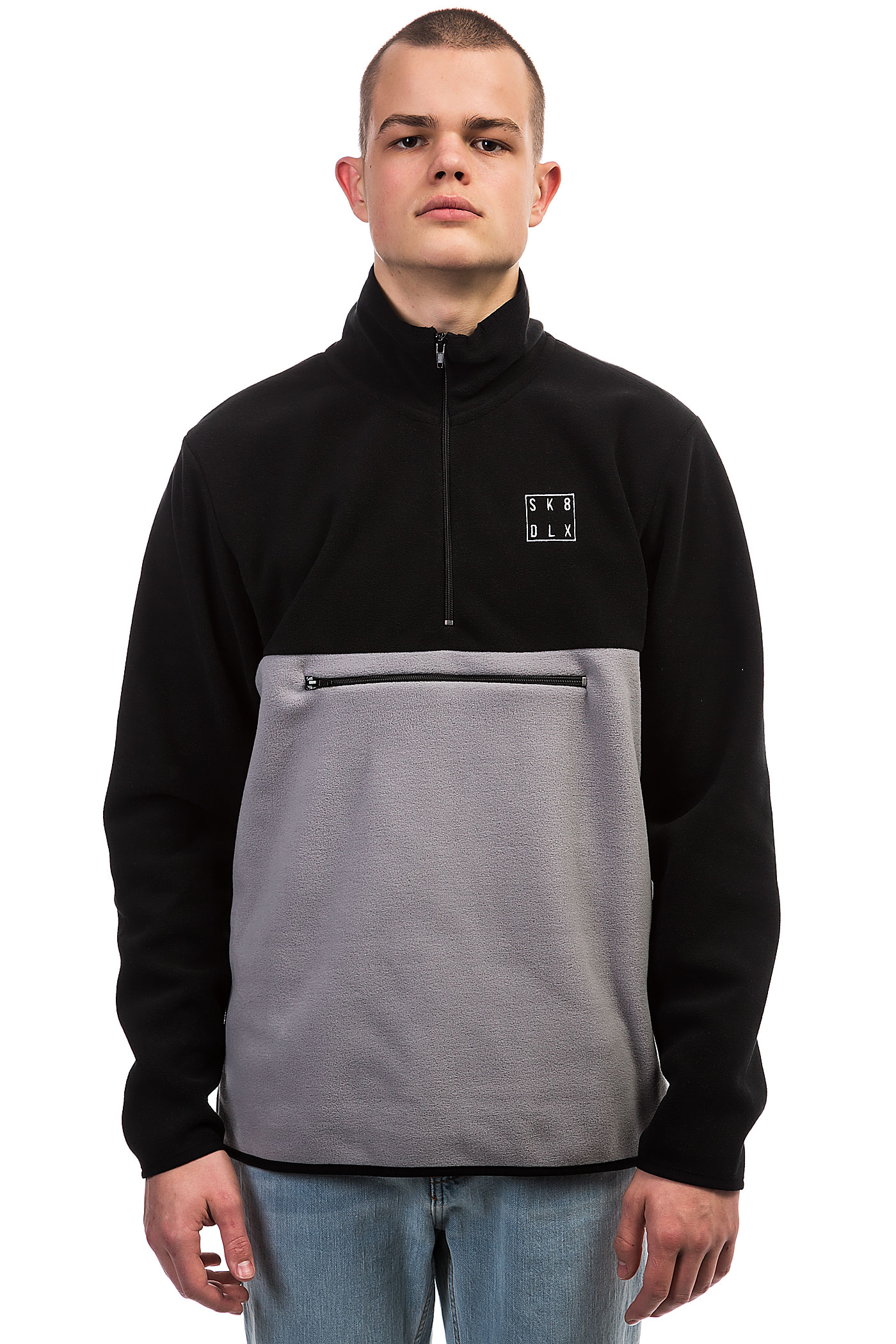 Half Fleece Sk8dlx Zip Sweatshirtblack Grey Square kPZTOiuX