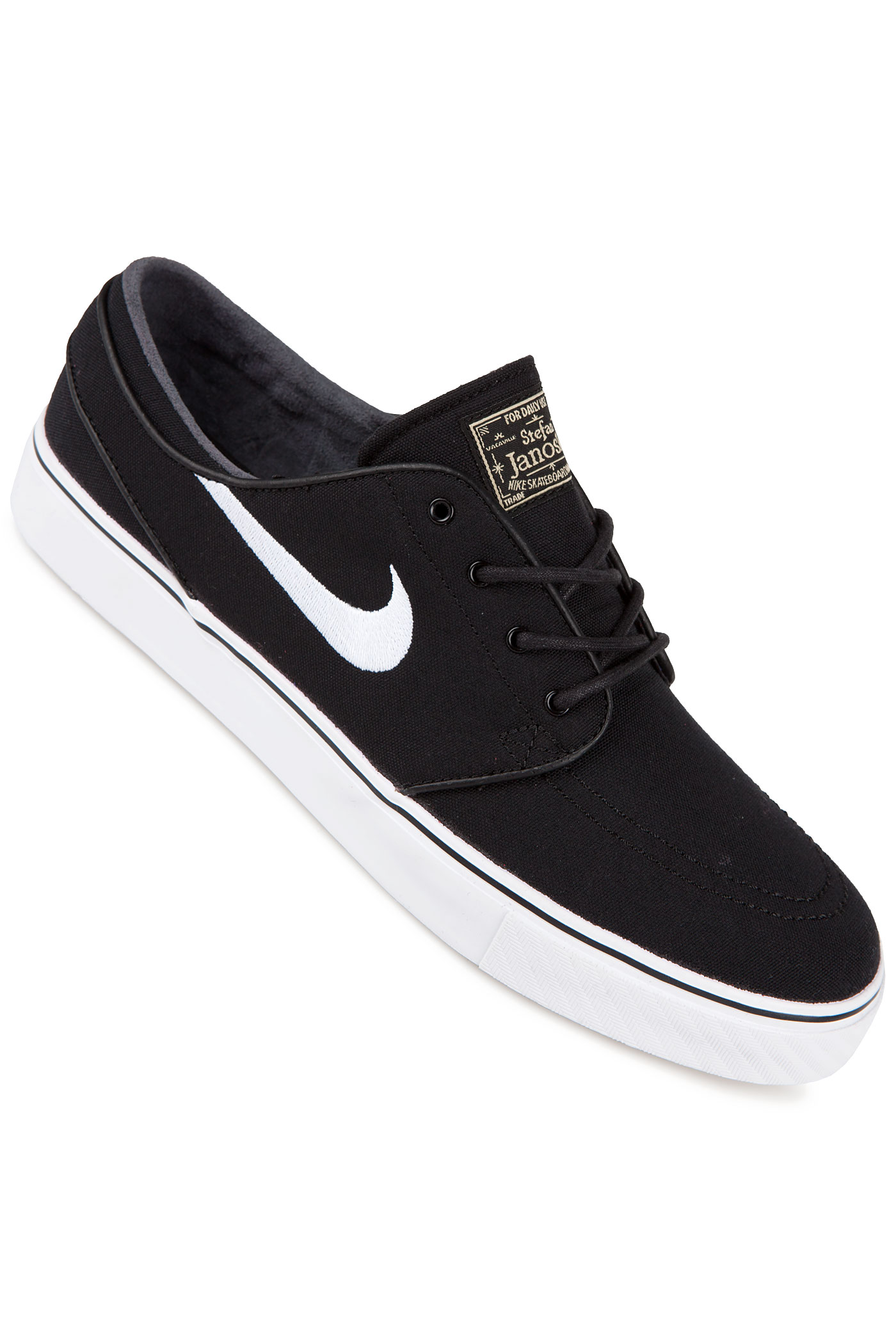 nike sb zoom stefan janoski canvas shoes black white gum