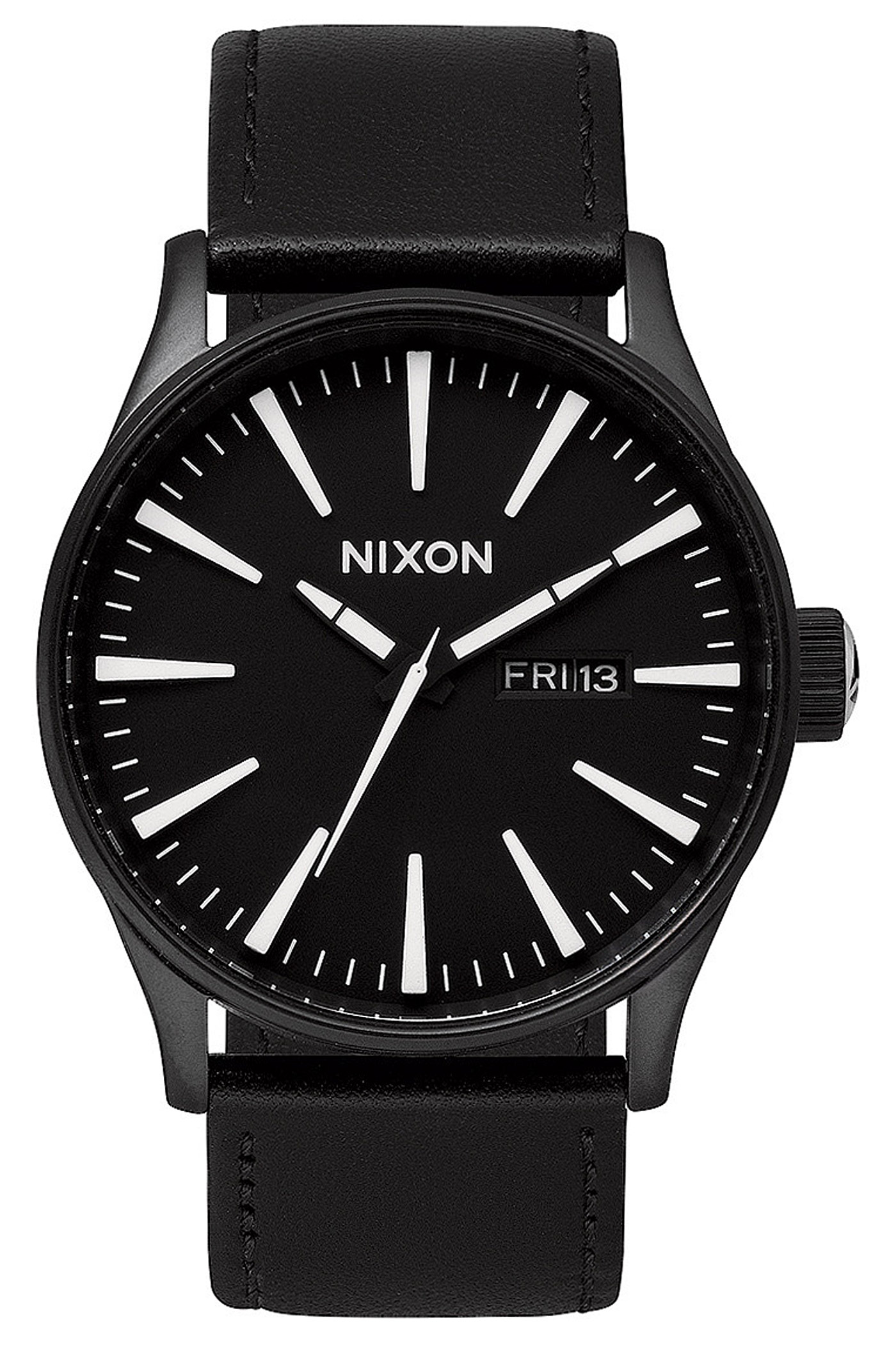 nixon the sentry leather uhr black white kaufen bei skatedeluxe. Black Bedroom Furniture Sets. Home Design Ideas