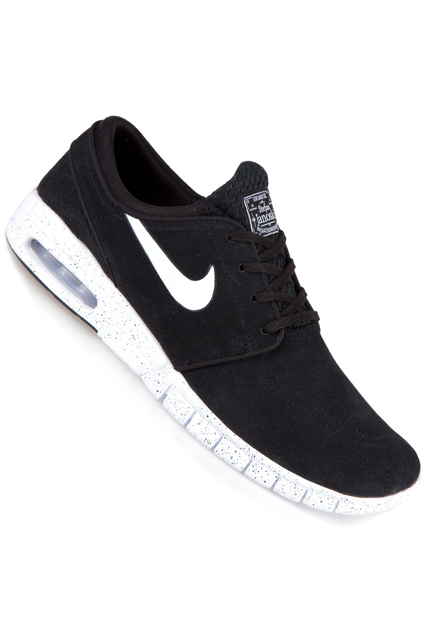 nike sb stefan janoski max suede chaussure black white achetez sur skatedeluxe. Black Bedroom Furniture Sets. Home Design Ideas