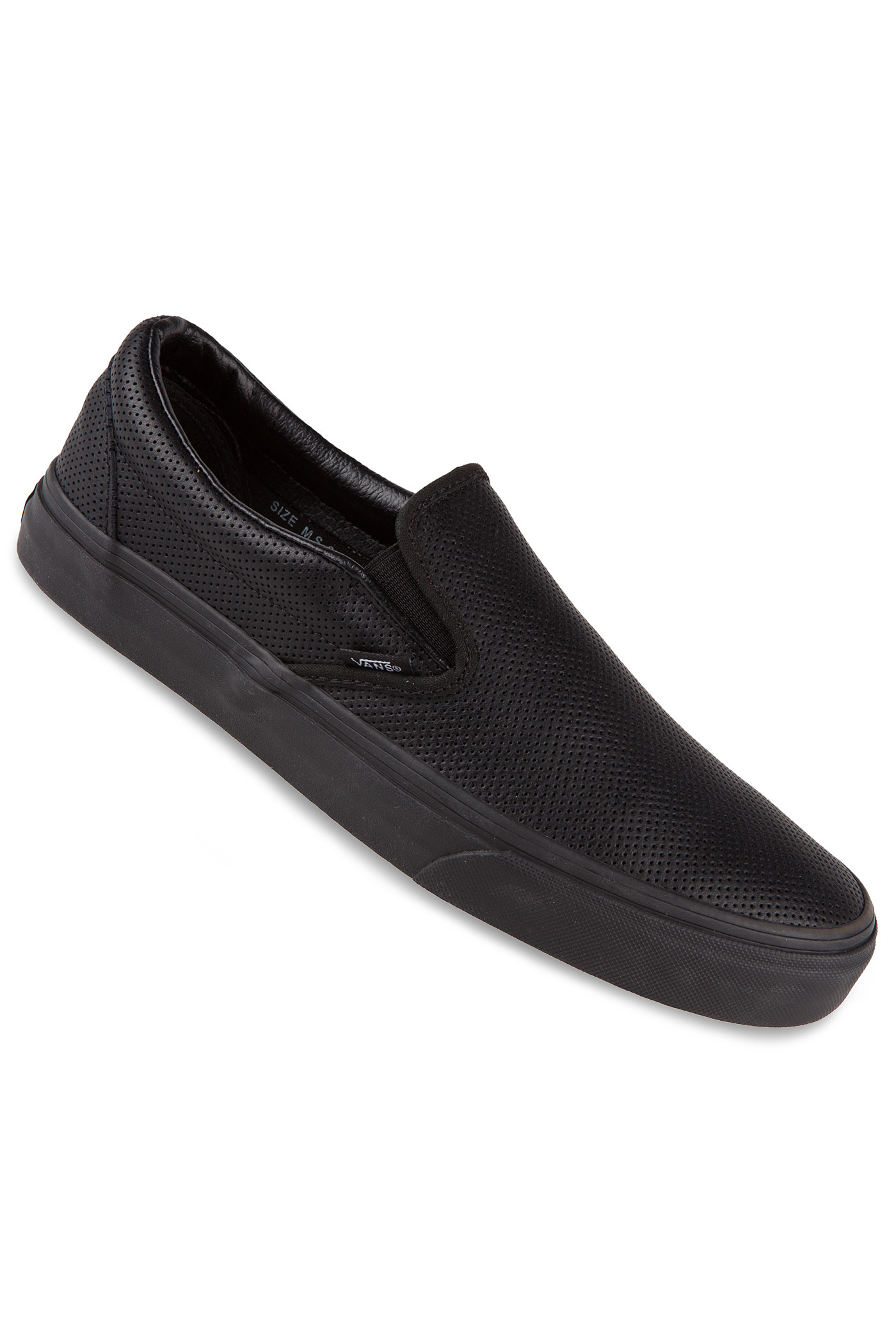 vans classic slip on leather chaussure perf black black achetez sur skatedeluxe. Black Bedroom Furniture Sets. Home Design Ideas