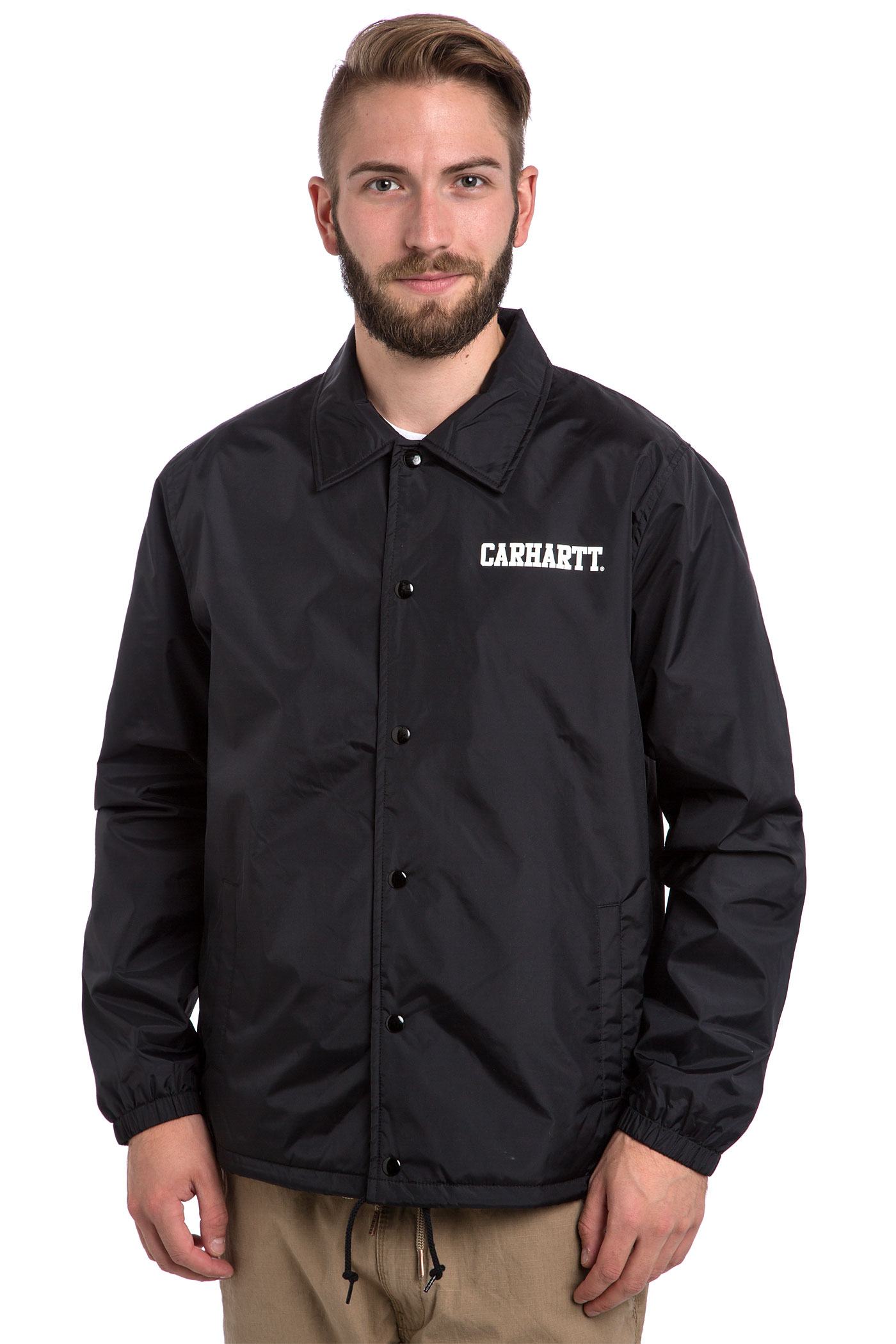 Carhartt wip college coach jacket black white buy at for Coach jacket
