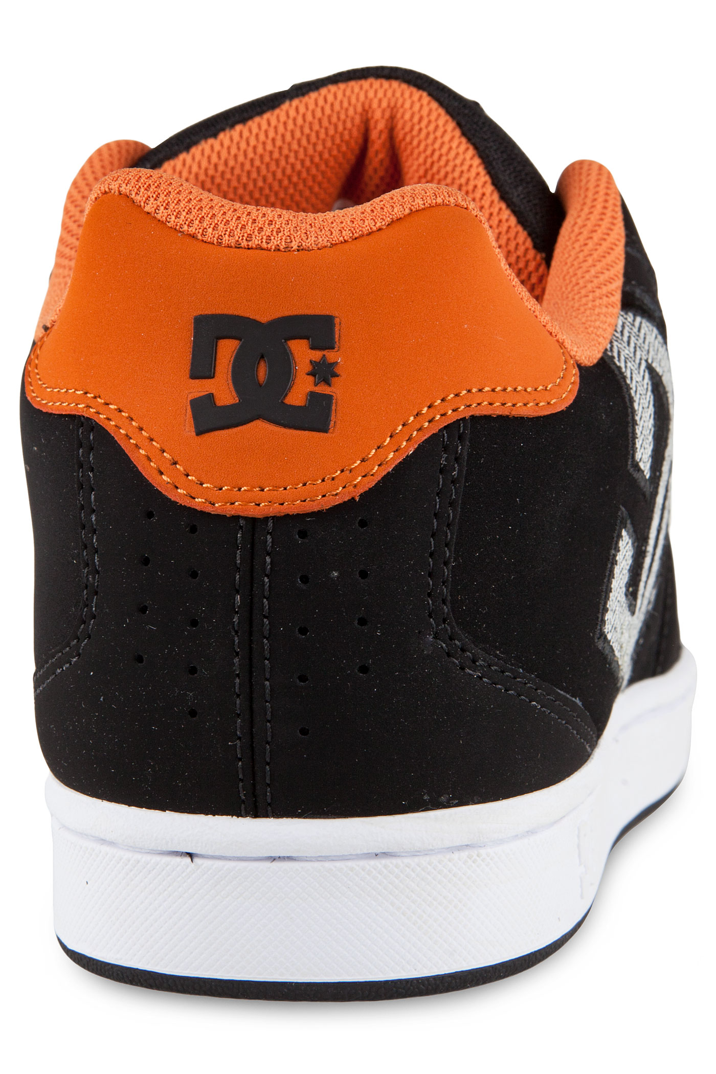 dc net leather shoes black orange buy at skatedeluxe