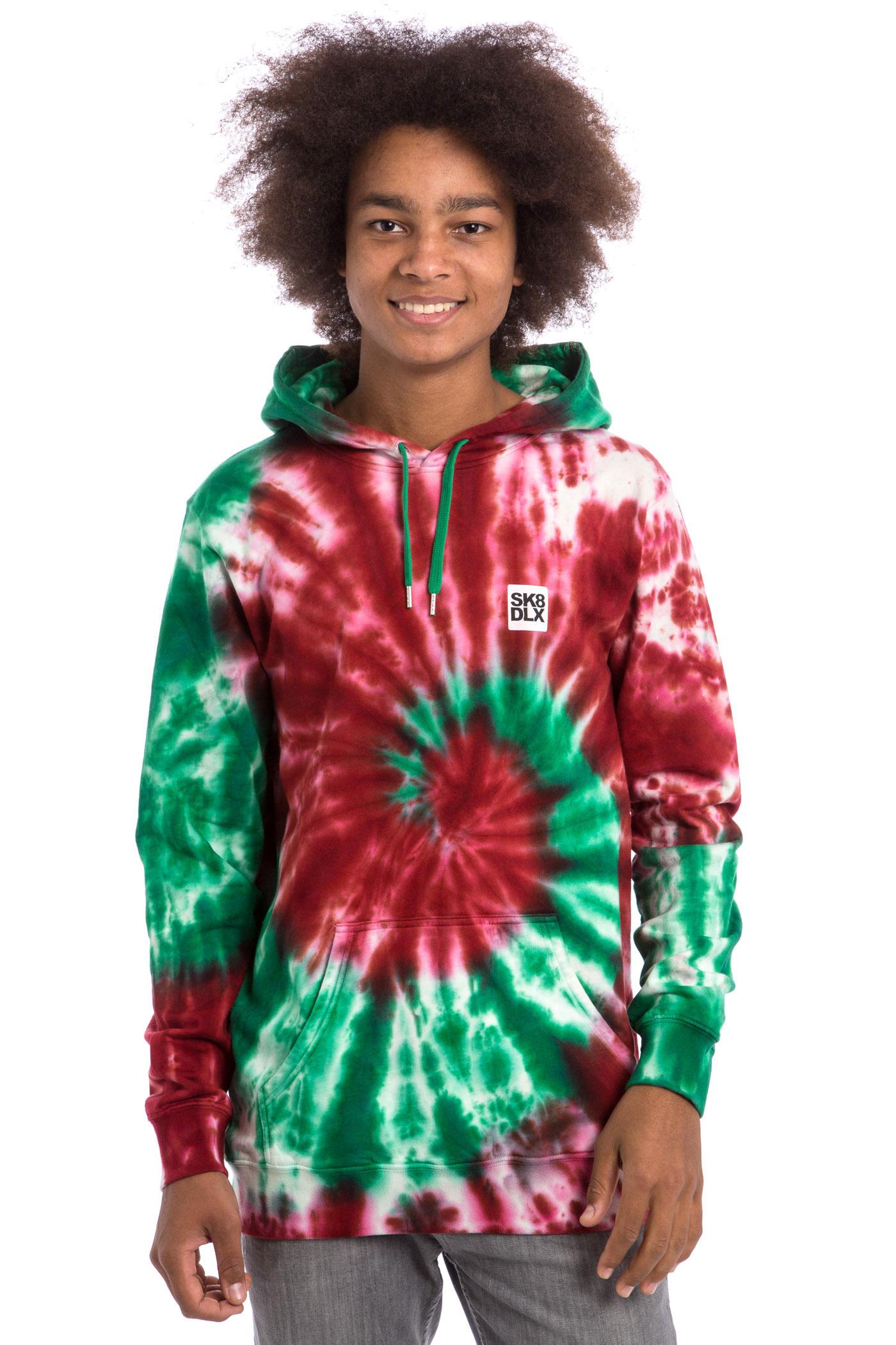 sk8dlx tie dye hoodie red green kaufen bei skatedeluxe. Black Bedroom Furniture Sets. Home Design Ideas
