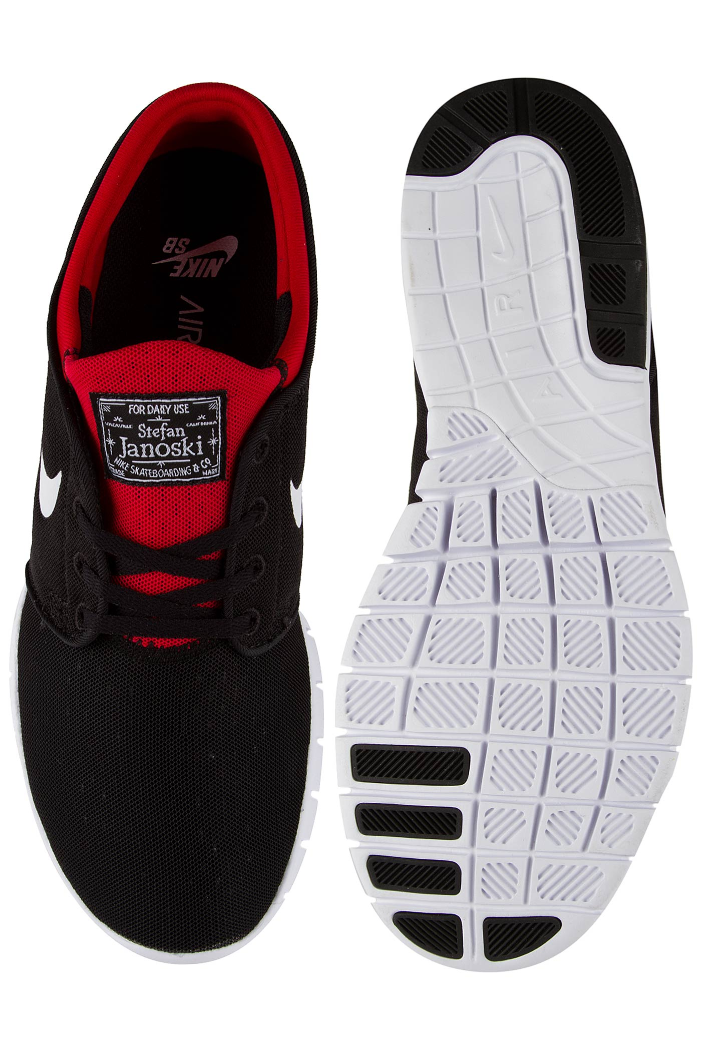 release date: f856b 12143 Nike SB Stefan Janoski Max Shoe (black white university red)