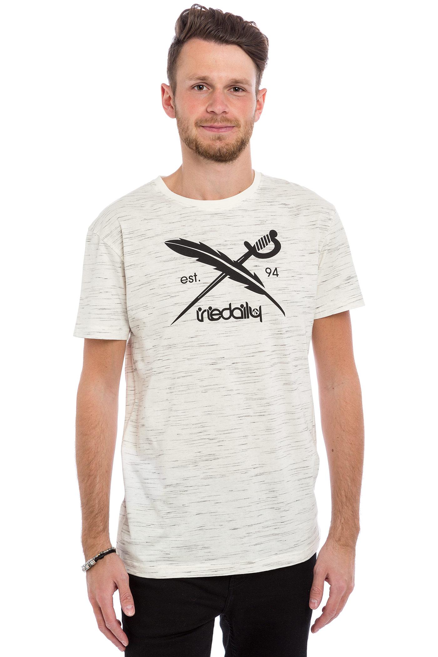 iriedaily mesh flag t shirt white melange buy at skatedeluxe. Black Bedroom Furniture Sets. Home Design Ideas
