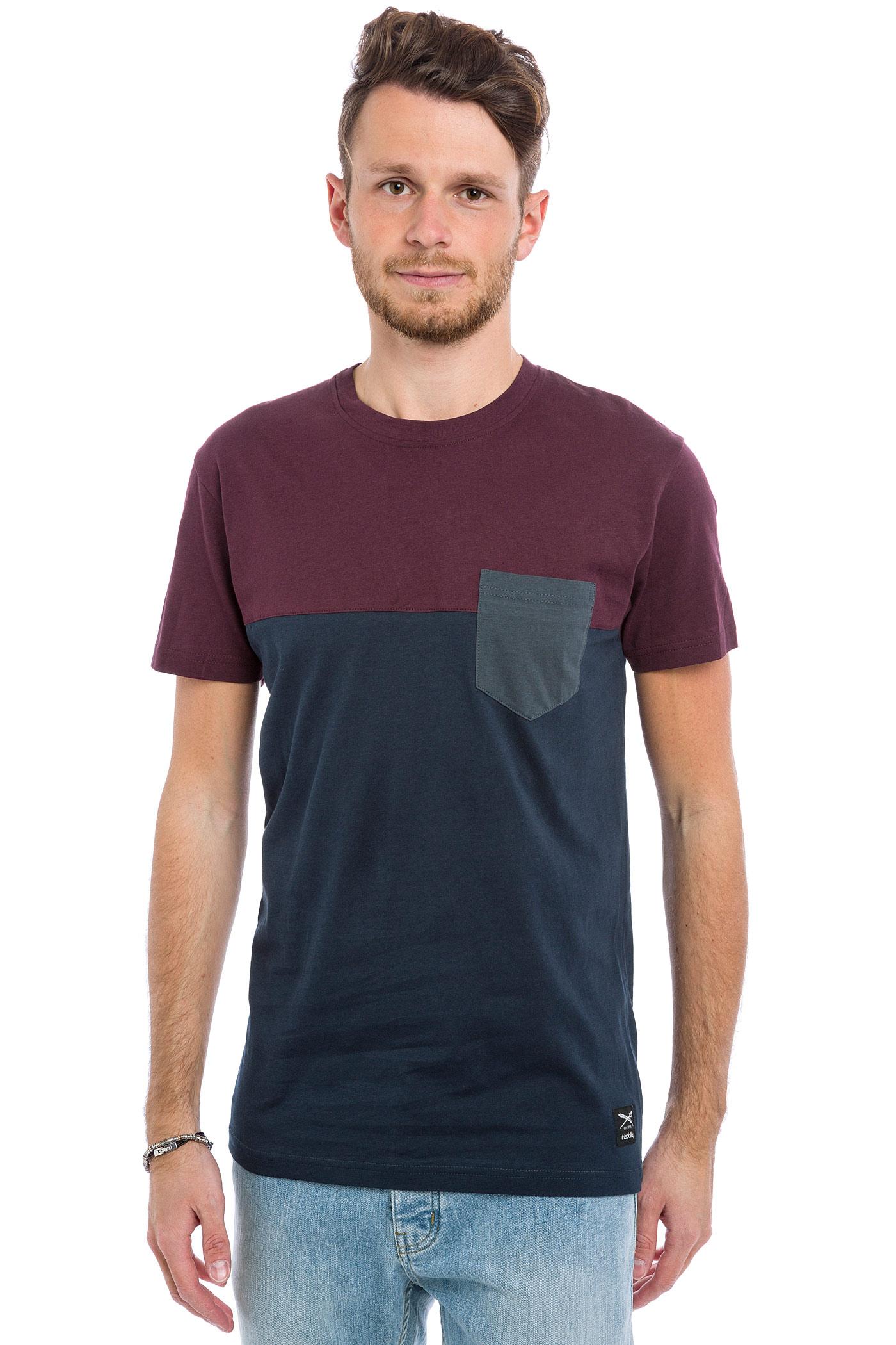 iriedaily block pocket t shirt navy wine buy at skatedeluxe. Black Bedroom Furniture Sets. Home Design Ideas