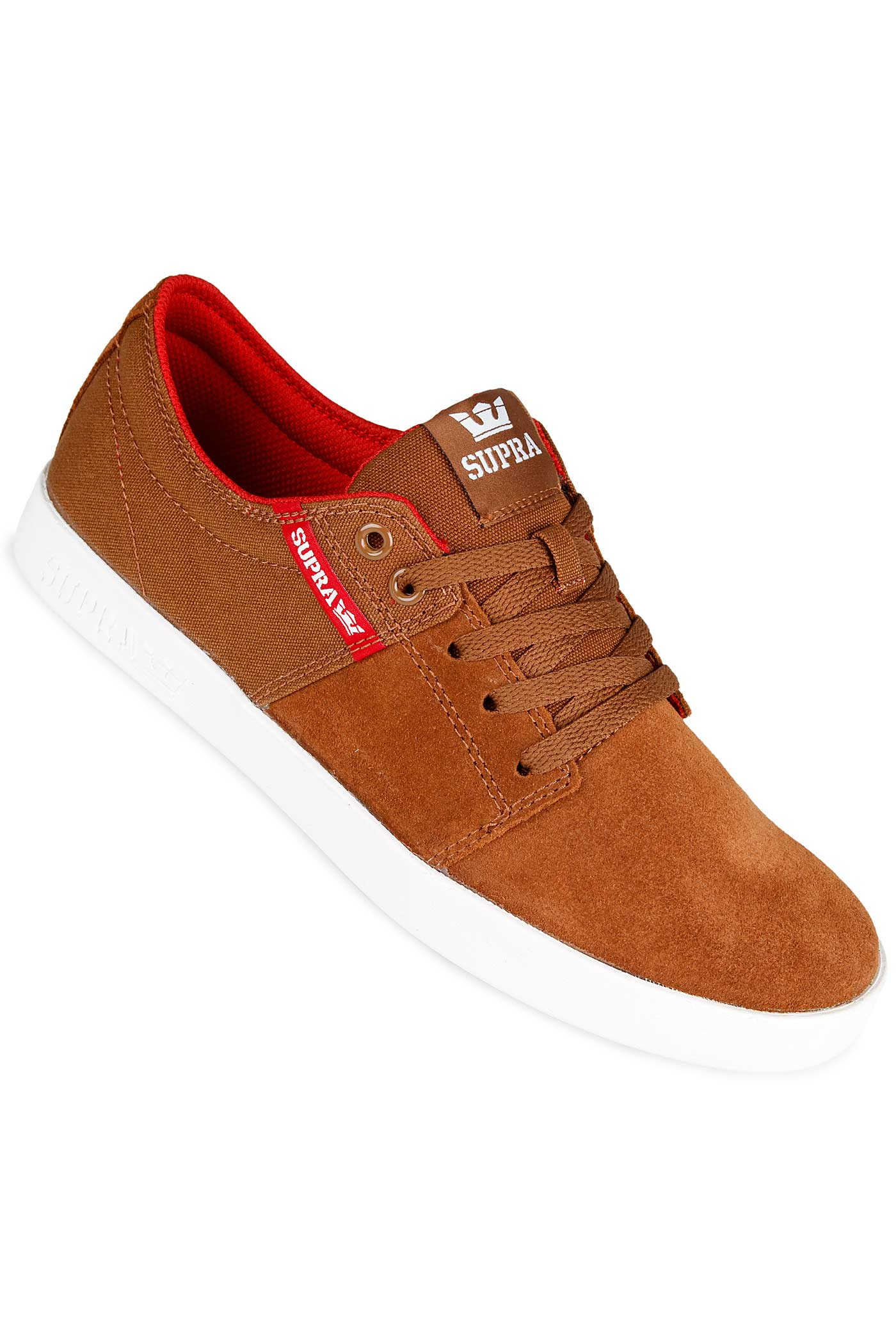 e72d652a3014 Supra Stacks II Shoe (brown red white) buy at skatedeluxe