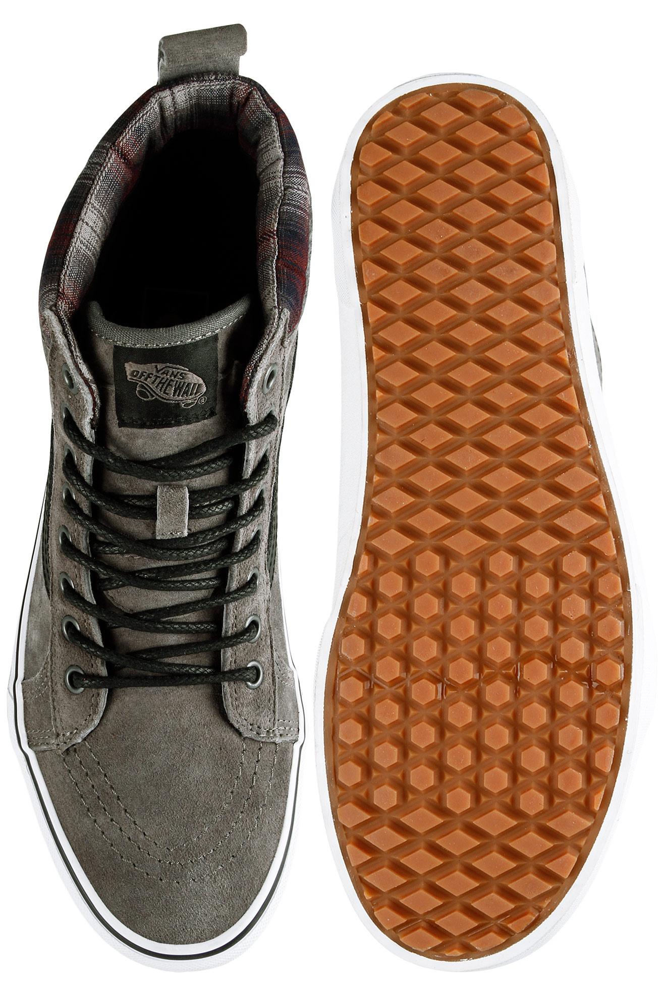 Vans Sk Hi Mte Pewter And Plaid Shoes