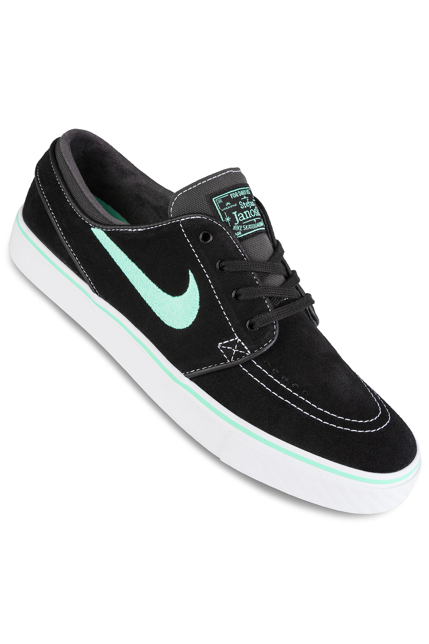 nike sb zoom stefan janoski chaussure black green glow achetez sur skatedeluxe. Black Bedroom Furniture Sets. Home Design Ideas