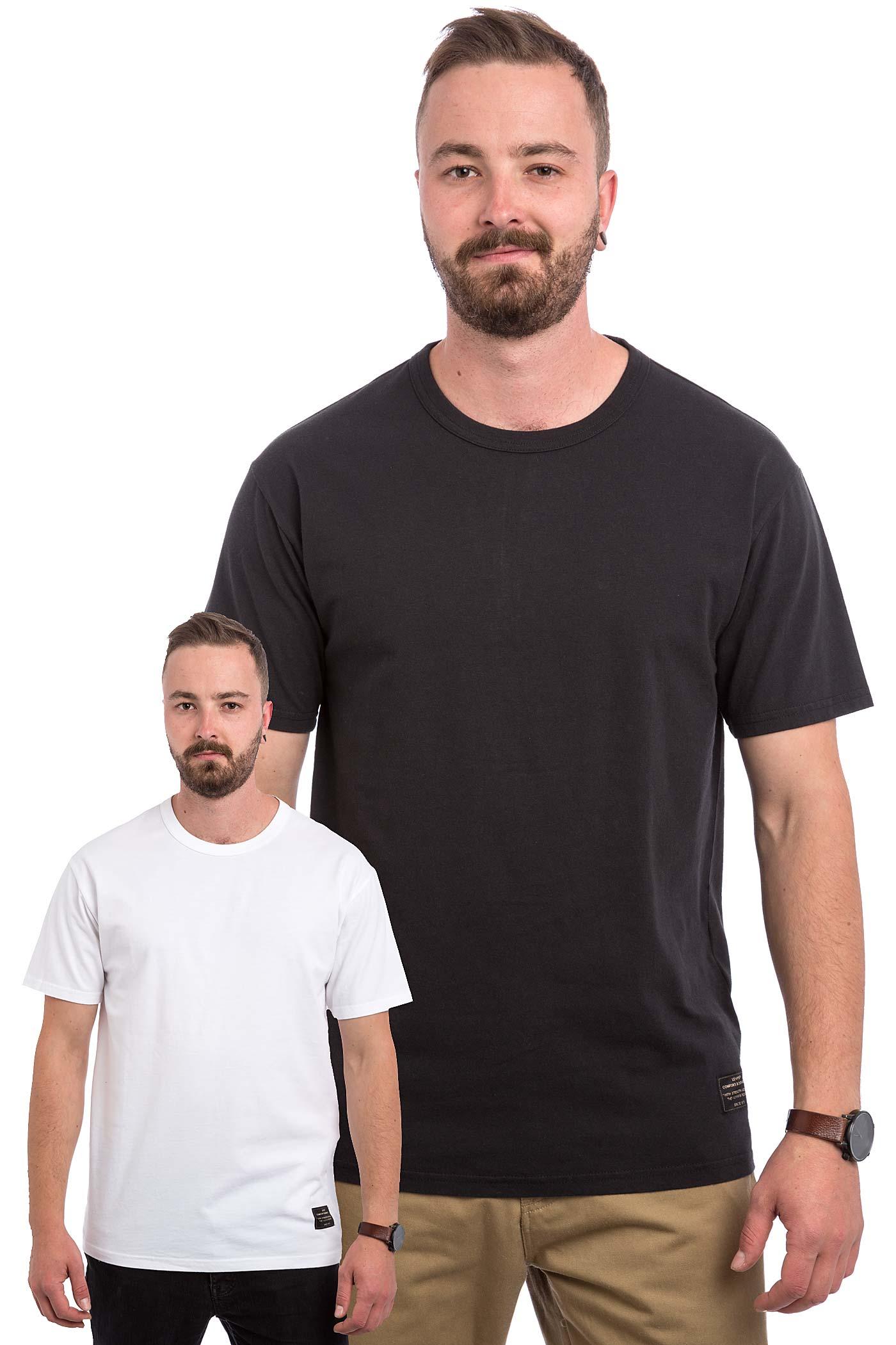 Black t shirt pack - Levi S Skate 2 Pack T Shirt White Jet Black