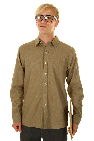 Cleptomanicx Plain Hemd (melange khaki)