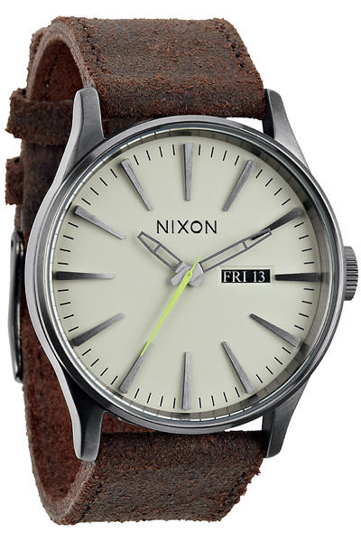 Nixon The Sentry Leather Uhr (gunmetal brown)