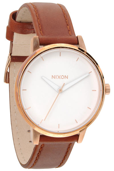 Nixon The Kensington Leather Uhr women (rose gold white)