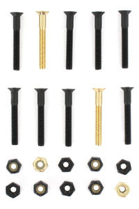 "SK8DLX Nuts & Bolts Gold 1 1/2"" Bolt Pack (black gold) Flathead (countersunk) cross slot"