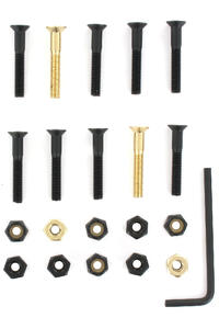 "SK8DLX Nuts & Bolts Gold 1 1/4"" Bolt Pack (black gold) Flathead (countersunk) allen"