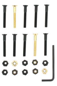 "SK8DLX Nuts & Bolts Gold 1 1/2"" Bolt Pack (black gold) Flathead (countersunk) allen"