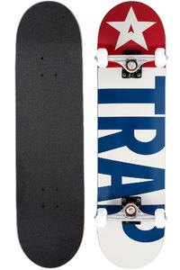 "Trap Skateboards Classic Big Flag OG 8"" Complete-Board (white blue)"