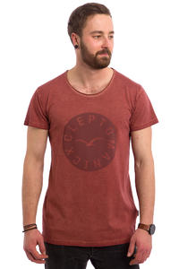 Cleptomanicx Indust Printed T-Shirt (dusty red)