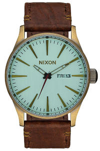 Nixon The Sentry Leather Uhr (brass green crystal brown)