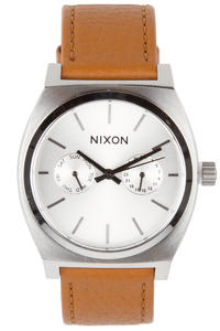 Nixon The Time Teller Deluxe Leather Uhr (silver sunray saddle)