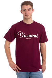 Diamond Champagne Script T-Shirt (burgundy)